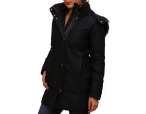 Pictures of Cole Hann Down Zip Front Leather-Trim Jacket - Navy 17,18--19