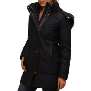 Picture change for Cole Hann Down Zip Front Leather-Trim Jacket - Navy 17,18--19