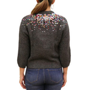 Pictures of Alison New York Multicolored Sequined Crewneck Sweater - Charcoal 41--19