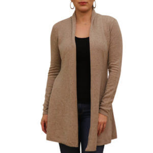 Pictures of Neiman Marcus Cahmere Collection - Cashmere Open-Front Flared Cardigan - Tan 43--19