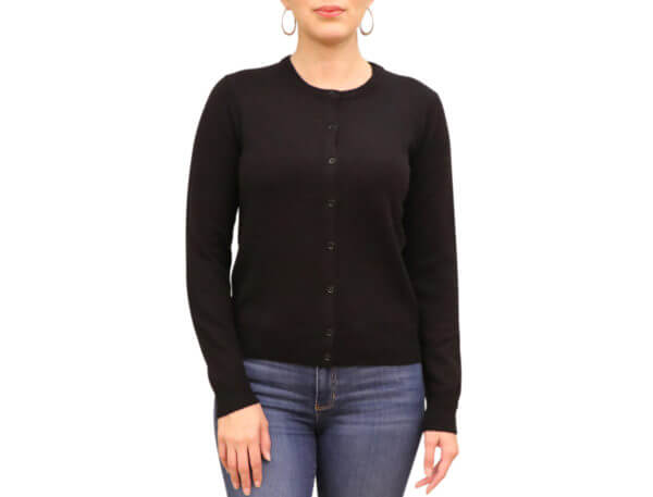 Pictures of Neiman Marcus Cashmere Button-Front Cardigan - Black 37--19