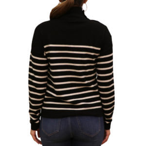 Pictures of Neiman Marcus Striped - Cashmere Mock-Neck Button-Sleeve Sweater - Black 35--19