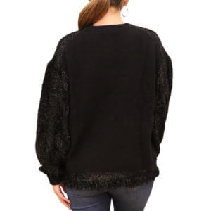 Pictures of Zac Posen Shimmer-Fringe Striped Sweater - Black 38--19